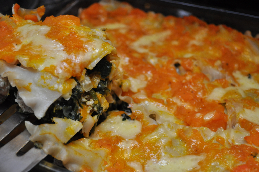 Buttercup Squash and Spinach Lasagna with Cheddar