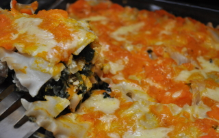 Buttercup and Spinach Lasagna with Cheddar