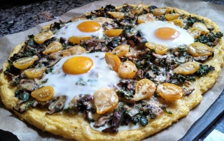 Polenta Pizza with Mushrooms, Kale, Cherry Tomatoes and Eggs