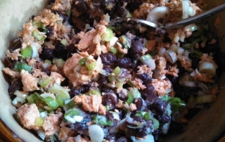 Salmon and Black Bean Burgers with Cumin and Lime Dressing