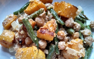 Roasted Squash Salad with Two Beans and Tahini Lemon Dressing