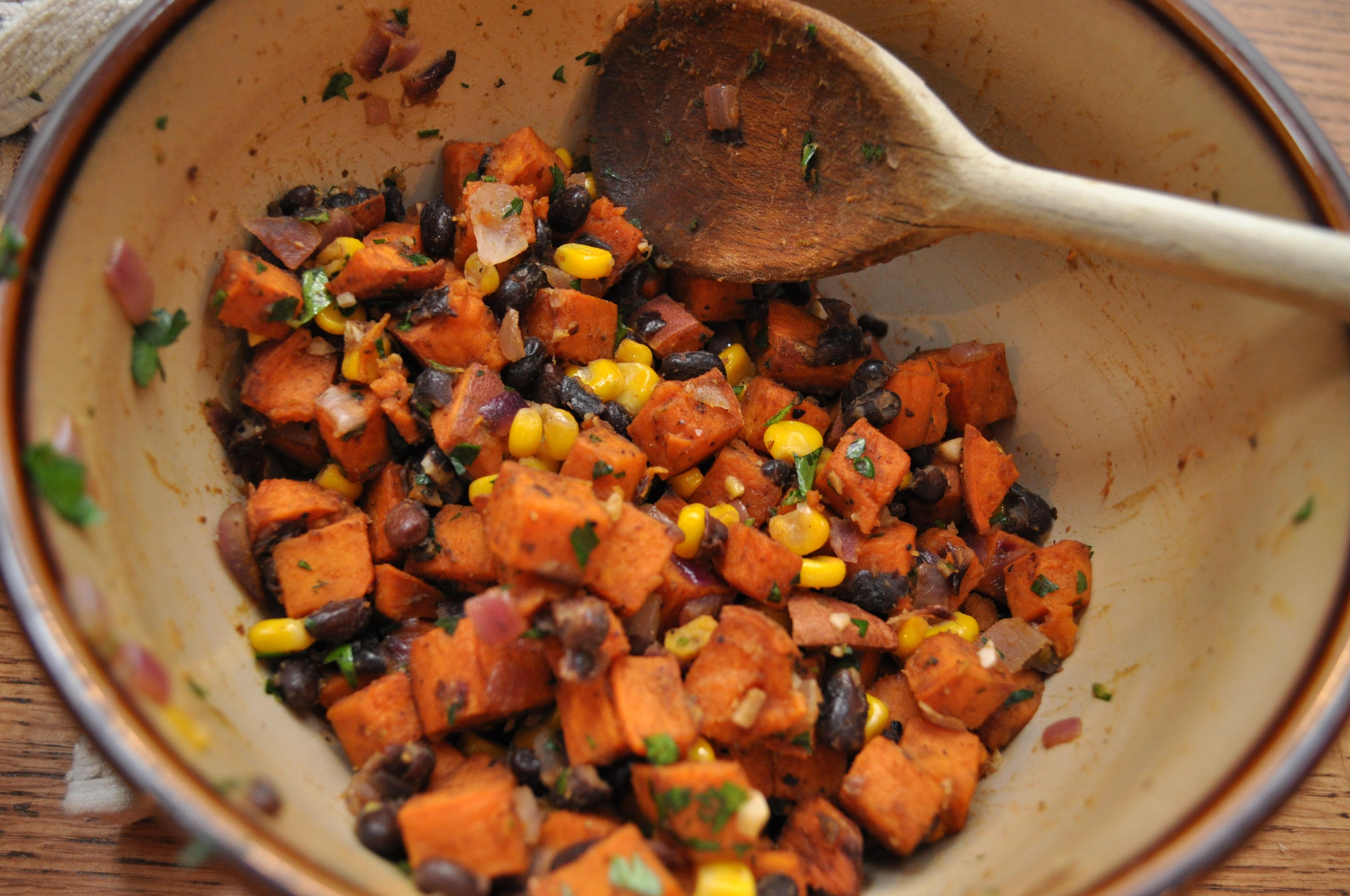 Sweet Potato, Black Bean and Corn Taco FIlling