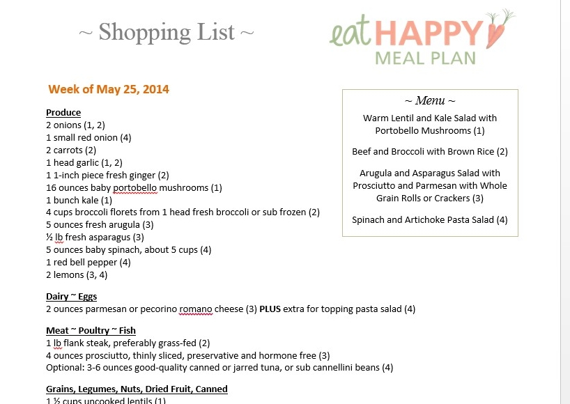 May 25 2014 meal plan photo