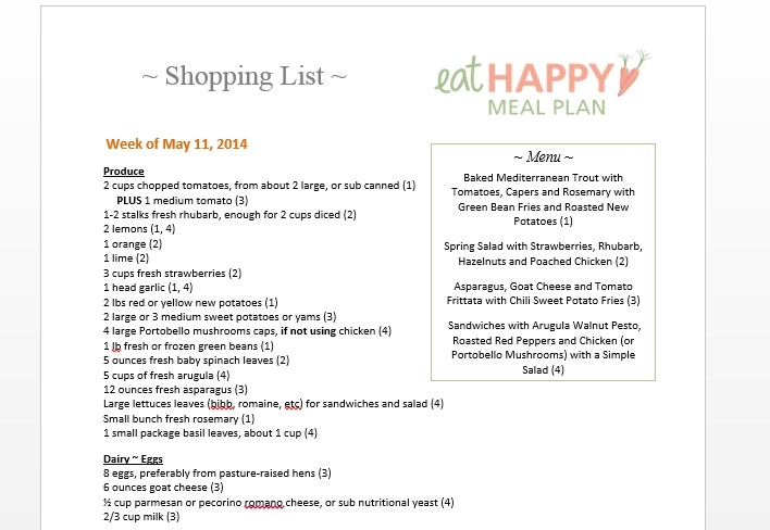 Eat Happy Meal Plan Shopping List May 11 2014