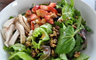 Strawberry Rhubarb Spring Salad with Hazelnuts and Poached Chicken
