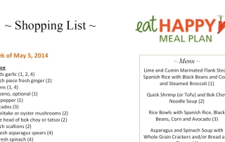 Eat Happy Meal Plan Shopping List May 1, 2014