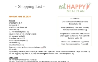 Eat Happy Meal Plan Shopping List June 29, 2014
