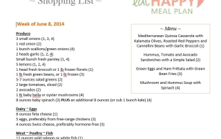 Eat Happy Meal Plan Shopping List June 8, 2014