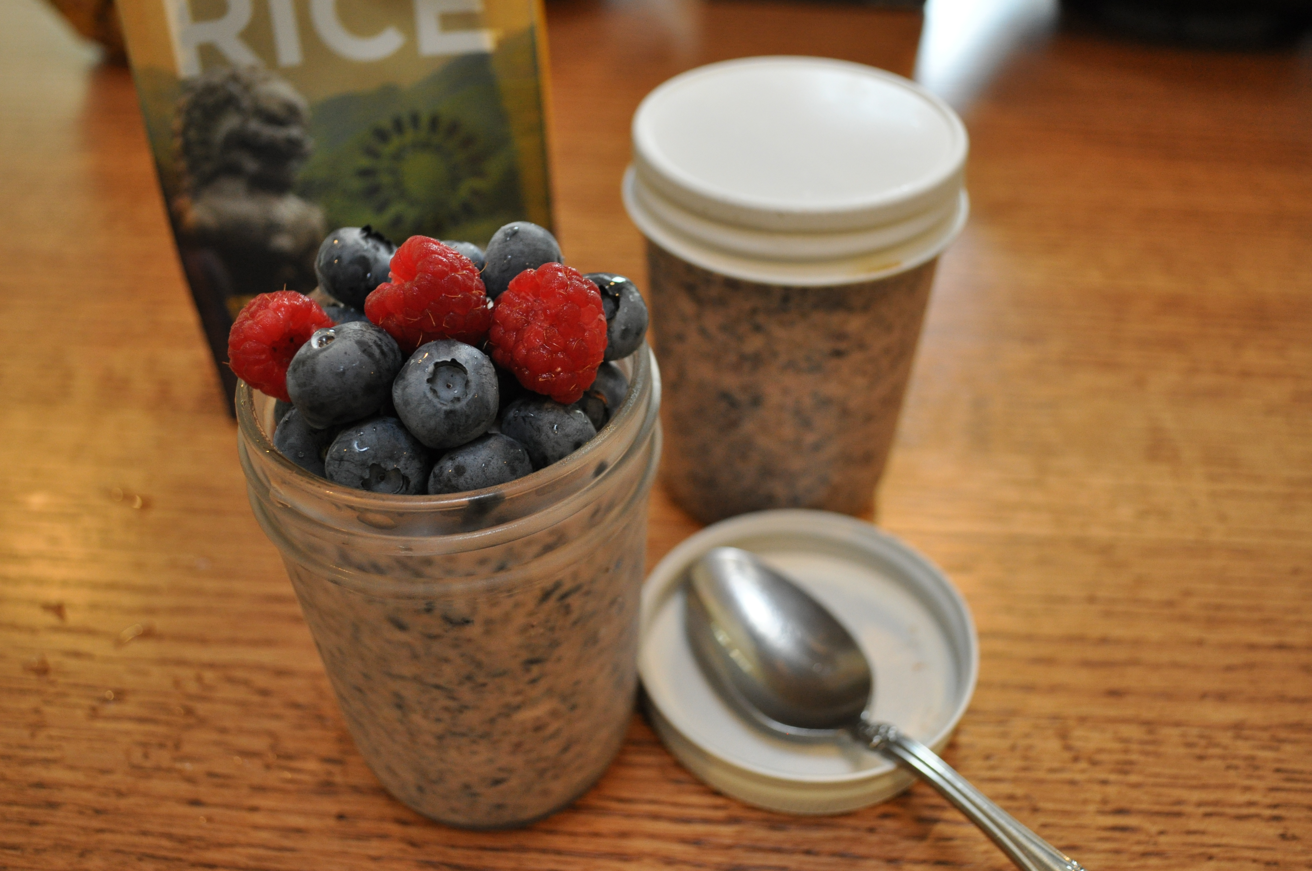 Chia and Purple Rice Breakfast Pudding with Berries