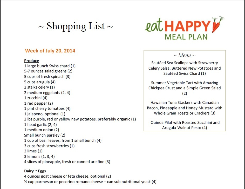 Meal Plan Menu July 20 2014
