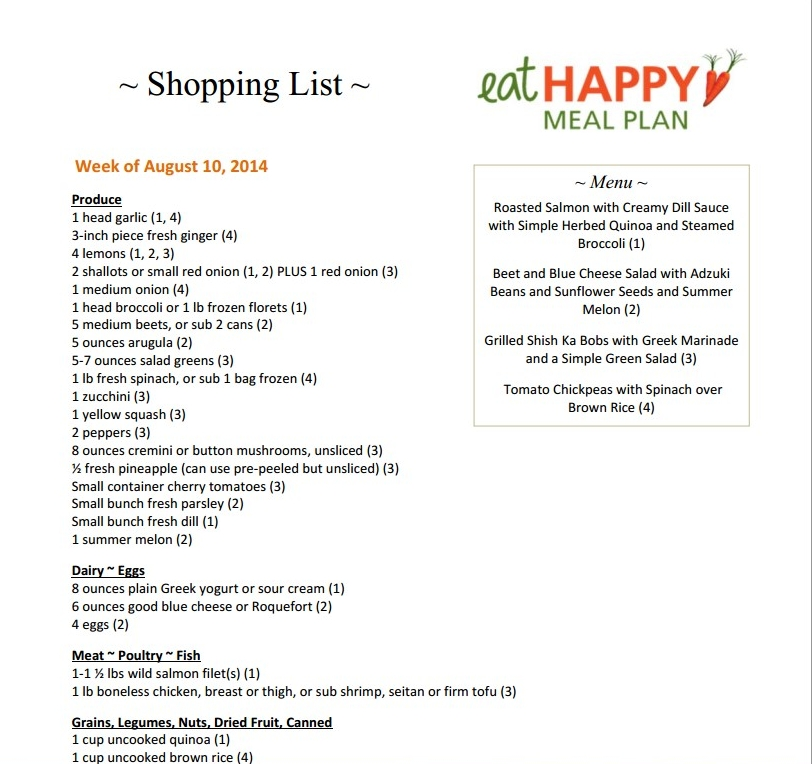 Eat Happy Meal Plan Menu and Shopping List Week of Aug 10, 2014