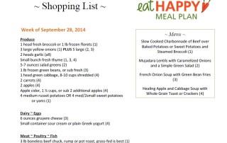Meal Plan Menu Sept 28, 2014