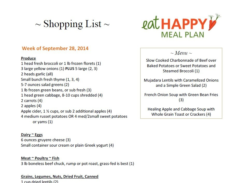 Meal Plan Menu Sept 28, 2014